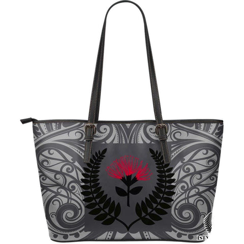New Zealand Large Leather Tote Bag Maori Silver Fern TH1 - 1st Iceland