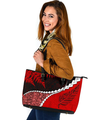 Paua Shell Maori Silver Fern Large Leather Tote Red K5 - 1st Iceland
