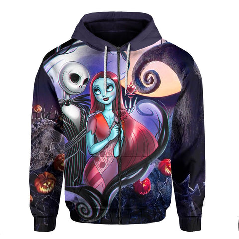 Halloween Zip Hoodie Jack and Sally K5 - 1st Iceland