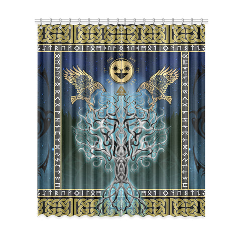 Image of 1stIceland Viking Window Curtain, Tree Of Life Fenrir Hati And Skoll Raven Rune TH00 - 1st Iceland