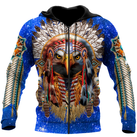 Image of 1st Iceland Eagle Native American Blue Galaxy Zip Hoodie