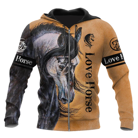 Image of 1sticeland Love Horse Zip Hoodie TH12 - 1st Iceland