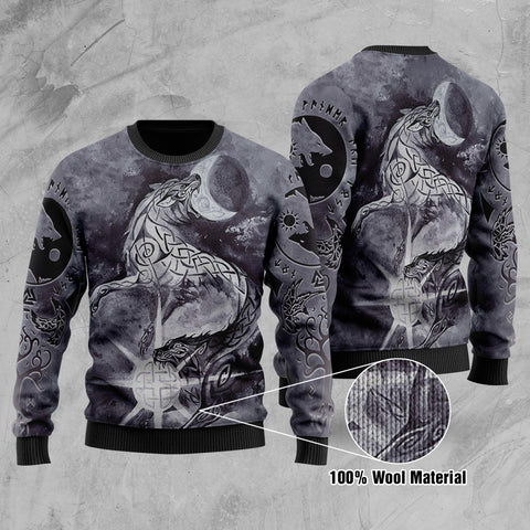 1stIceland Viking Skoll And Hati with Fenrir Yggdrasil 100% Wool Material Sweater TH5 - 1st Iceland