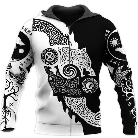 1stIceland Vikings Zip Up Hoodie, Geri and Freki Norse Wolves TH5 - 1st Iceland