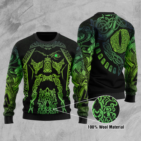 1stIceland Viking Hugin and Munin - Odin's Eye Myth 100% Wool Material Sweater TH5 - 1st Iceland