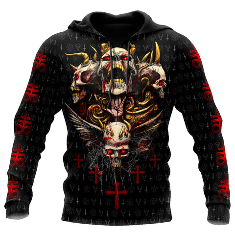 Image of 1stIceland Red Eyes Skull Hoodie TH12 - 1st Iceland