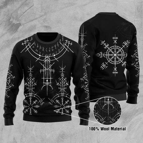 1stIceland Magic Ancient Viking Tattoo 100% Wool Material Sweater