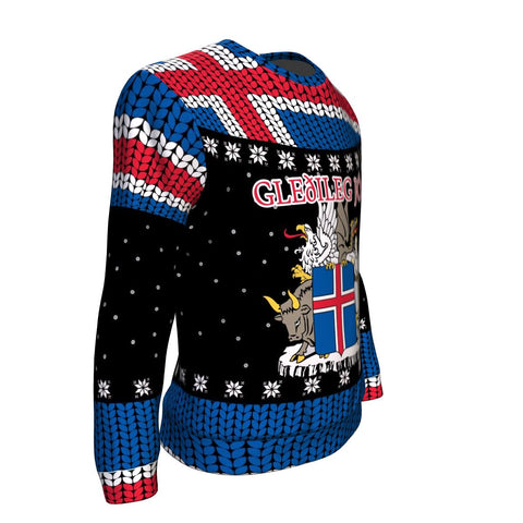 Image of 1stIceland Christmas Sweaters, Iceland Coat Of Arms Gleðileg Jól K5 - 1st Iceland