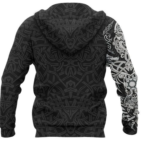 1stIceland Viking Zip Up Hoodie, Fenrir The Vikings Wolves Black - New K4 - 1st Iceland