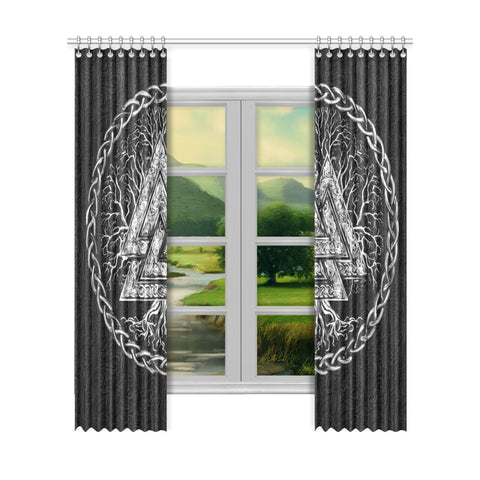 1stIceland Viking Window Curtain, Valknut Symbol - 1st Iceland