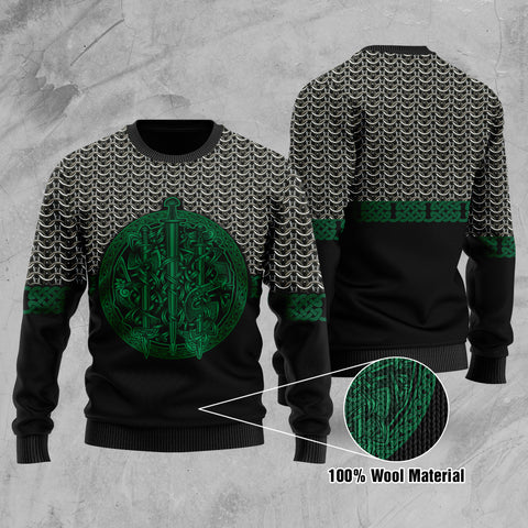 1stIceland Viking Sword 100% Wool Material Sweater Mix Celtic Patterns Green