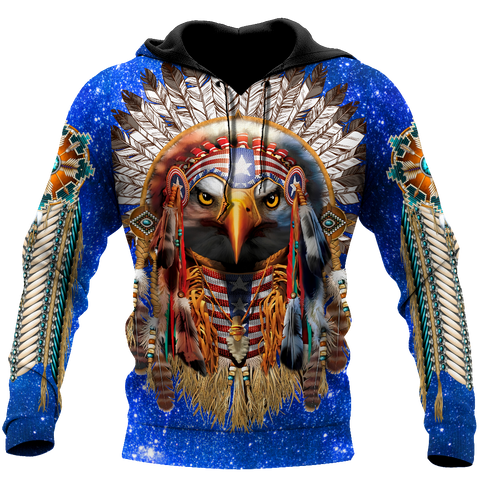 Image of 1st Iceland Eagle Native American Blue Galaxy Hoodie