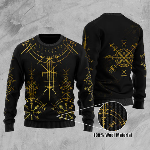 1stIceland Magic Ancient Viking Tattoo 100% Wool Material Sweater Gold TH4 - 1st Iceland