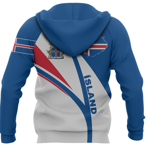 1stIceland Pullover Hoodie, Iceland Flag Map Coat Of Arms K7 - 1st Iceland