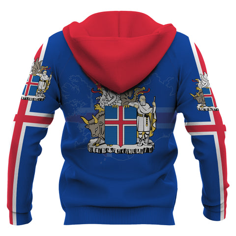 1stIceland Pullover Hoodie, Iceland  Flag Map Coat Of Arms K4 - 1st Iceland