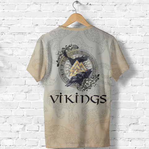 Image of 1stIceland Viking T-Shirt, Odin's Ravens Valknut Rune Circle TH00 - 1st Iceland