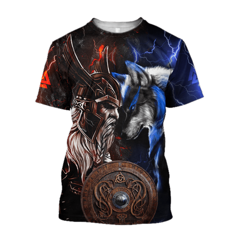 1sticeland Viking - Odin and Wolf T-Shirt TH12 - 1st Iceland