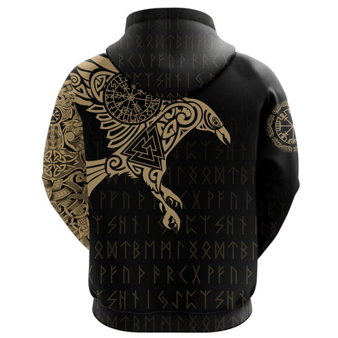 1stIceland Viking Pullover Hoodie, Raven Of Odin Vegvisir Rune A7 - 1st Iceland
