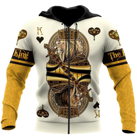 1st Iceland Yellow King Heart Lion Poker Zip Hoodie TH12 - 1st Iceland
