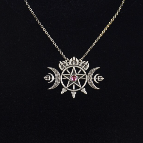 Triple Pentagram Crescent Necklace TH19 - 1st Iceland