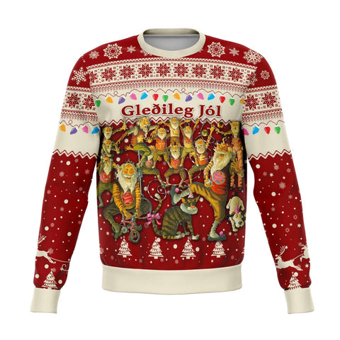Image of 1stIceland Iceland Christmas Sweatshirt The Yule Lads Warm Vibes - Red K8 - 1st Iceland