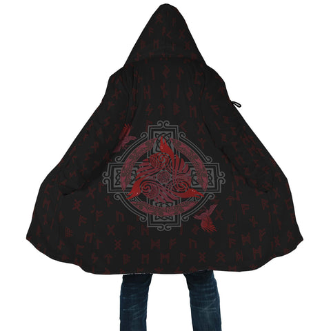 Image of 1stIceand Viking Hooded Cloak, Odin's Raven Triskele Elder Futhark A7 - 1st Iceland