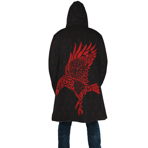 Image of 1stIceland Viking Hooded Cloak, Odin's Raven Vegvisir Valknut Rune A7 (Red) - 1st Iceland