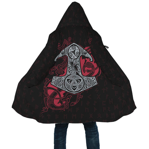 1stIceland Viking Hooded Cloak, Odin's Mjolnir Rune A7 - 1st Iceland