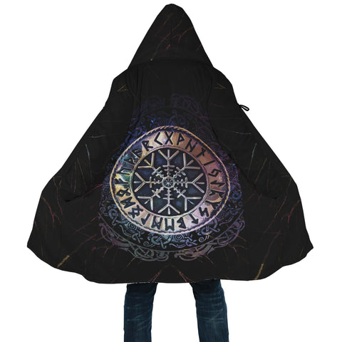 1stIceland Viking Hooded Cloak, Helm Of Awe Runes Circle A7 - 1st Iceland