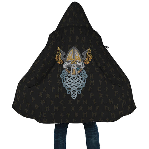 Image of 1stIceland Viking Hooded Cloak, Odin Helmet Runes A7 - 1st Iceland