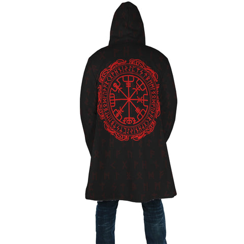 1stIceland Viking Hooded Cloak, Vegvisir Runes And Rune Circle A7 - 1st Iceland