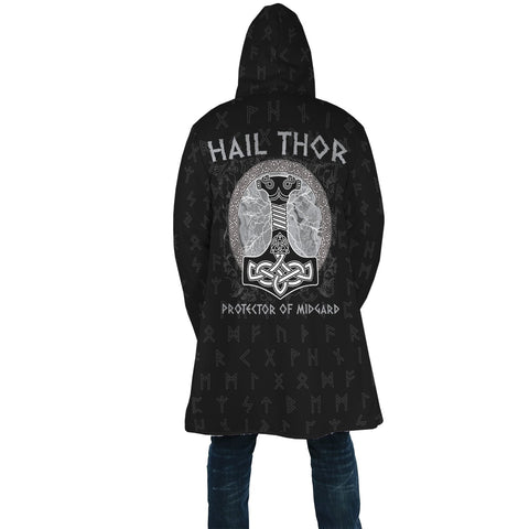 1stIceland Viking Hooded Cloak, Mjolnir Runes Hall Thor Protector Of Midgard A7 - 1st Iceland