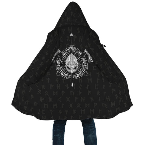 Image of 1stIcekand Viking Hooded Cloak, Odin Helmet Cross Axes Elder Futhark A7 - 1st Iceland