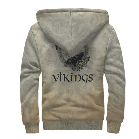 Image of 1stIceland Viking Sherpa Hoodie, Raven Of Odin Valknut Yggrasil TH00 - 1st Iceland