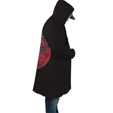 Image of 1stIceland Viking Hooded Cloak, Ragnar's Raven Futhark Norse - 1st Iceland