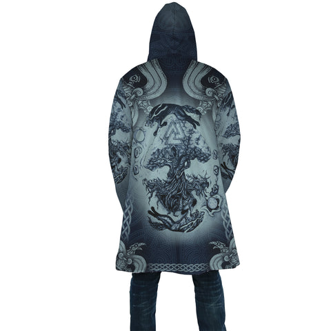 Image of 1stIceland Viking Hooded Cloak, Yggdrasil Fenrir Skoll And Hati Valknut K7 - 1st Iceland