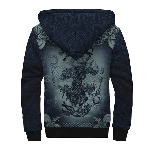 Image of 1stIceland Viking Sherpa Hoodie, Yggrasil Odin's Raven Fenrir Skoll And Hati K7 - 1st Iceland