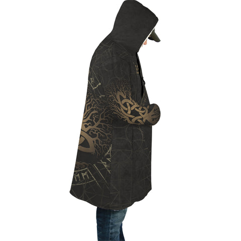 Image of 1stIceland Viking Hooded Cloak, Yggdrasil Helm Of Awe Rune Circle K7 - 1st Iceland