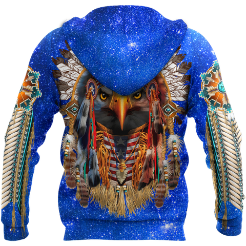 1st Iceland Eagle Native American Blue Galaxy Zip Hoodie