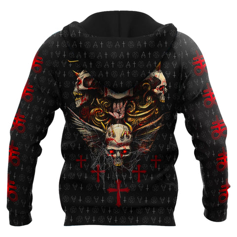 1stIceland Red Eyes Skull Zip Hoodie TH12 - 1st Iceland