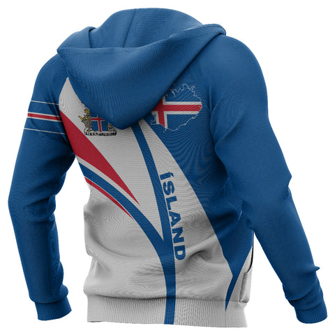 Image of 1stIceland Pullover Hoodie, Iceland Flag Map Coat Of Arms K7 - 1st Iceland