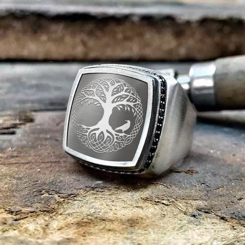 1stIceland Viking Yggdrasil Silver Rings, Tree Of Life Raven K2 - 1st Iceland