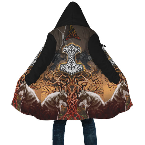 Image of 1stIceland Viking Hooded Cloak, Yggdrasil Fenrir Mjolnir Ravens K4 - 1st Iceland