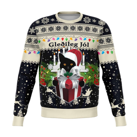 1stIceland Iceland Christmas Sweatshirt The Yule Cat Warm Vibes - Navy K8 - 1st Iceland