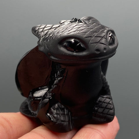 Natural Hand Carved Obsidian Night Fury Toothless TH7