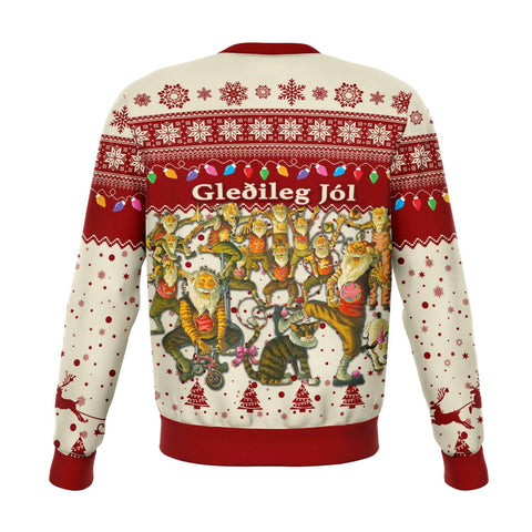 1stIceland Iceland Christmas Sweatshirt The Yule Lads Warm Vibes - Beige Red K8 - 1st Iceland