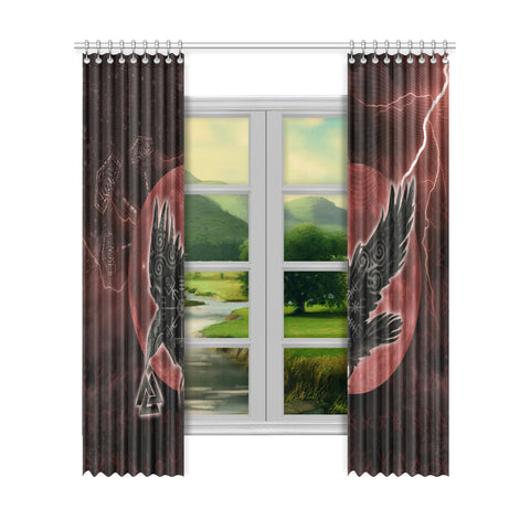 1stIceland Viking Window Curtain - Raven Mjolnir Red Thunder TH00 - 1st Iceland
