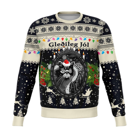 1stIceland Iceland Christmas Sweatshirt The Yule Cat Warm Vibes Style - Navy K8 - 1st Iceland