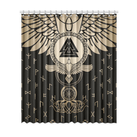 1stIceland Viking Window Curtain, Flying Raven Tattoo And Valknut Gold - 1st Iceland
