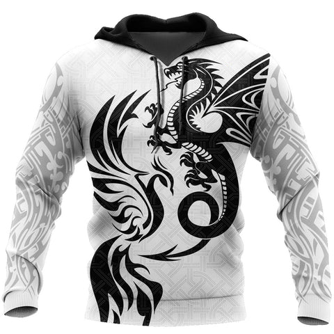 1sticeland White Dragon And Phoenix Hoodie TH12 - 1st Iceland